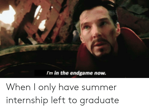 I'm in the Endgame Now When I Only Have Summer Internship