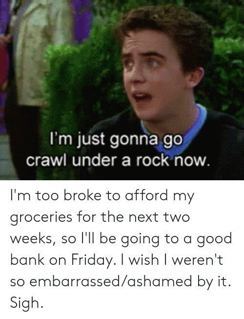 Friday, Bank, and Good: I'm just gonna go  crawl under a rock now I'm too broke to afford my groceries for the next two weeks, so I'll be going to a good bank on Friday. I wish I weren't so embarrassed/ashamed by it. Sigh.