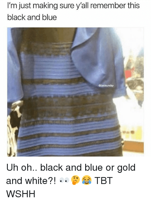 Memes, Tbt, and Wshh: I'm just making sure y'all remember this  black and blue  abadsunday Uh oh.. black and blue or gold and white?! 👀🤔😂 TBT WSHH
