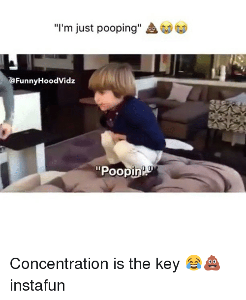 """Memes, 🤖, and Key: """"I'm just pooping""""  G  @FunnyHoodVidz  """"Poopi Concentration is the key 😂💩 instafun"""