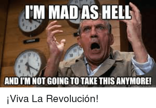 Mad, Hell, and Advice Animals: I'M MAD AS HELL  ANDTM NOT GOING TO TAKE THISANYMORE! ¡Viva La Revolución!