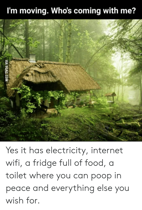 Food, Internet, and Poop: I'm moving. Whos coming with me? Yes it has electricity, internet wifi, a fridge full of food, a toilet where you can poop in peace and everything else you wish for.