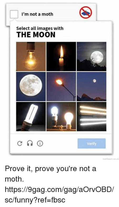 9gag, Dank, and Funny: I'm not a moth  Select all images with  THE MOON  0  Veri Prove it, prove you're not a moth.  https://9gag.com/gag/aOrvOBD/sc/funny?ref=fbsc
