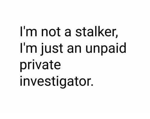 I'm Not a Stalker I'm Just an Unpaid Private Investigator | Meme on