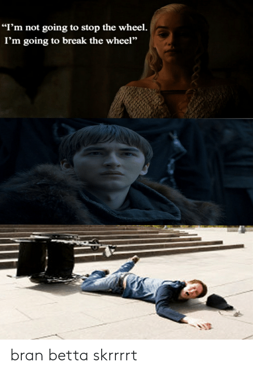 """Break, Bran, and Stop: """"I'm not going to stop the wheel.  I'm going to break the wheel'"""" bran betta skrrrrt"""