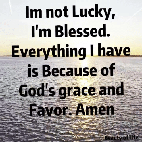 Blessed, Memes, and 🤖: Im not Lucky,  I'm Blessed.  Everything I have  is Because of  God's grace and  Favor. Amen  Beauty of tife