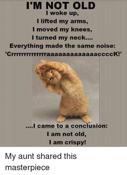 Old, I Came, and Terrible Facebook: I'M NOT OLD  I woke up,  I lifted my arms  I moved my knees,  I turned my neck....  Everything made the same noise:  ....I came to a conclusion:  I am not old  I am crispy!