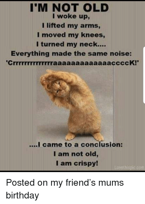 Birthday, Old, and Terrible Facebook: I'M NOT OLD  I woke up,  I lifted my arms  moved my kneeS  I turned my neck....  Everything made the same noise:  came to a conclusion:  I am not old,  I am crispy!