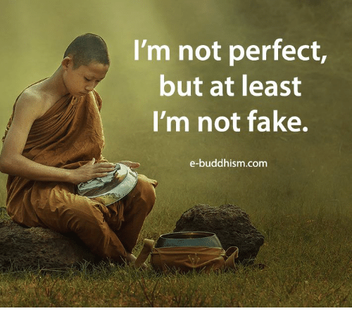 Fake, Memes, and Buddhism: I'm not perfect  but at least  I'm not fake.  e-buddhism.com