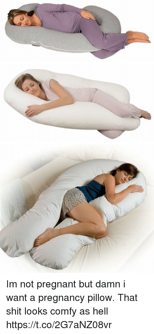 Pregnant, Shit, and Pregnancy: Im not pregnant but damn i want a pregnancy pillow. That shit looks comfy as hell https://t.co/2G7aNZ08vr