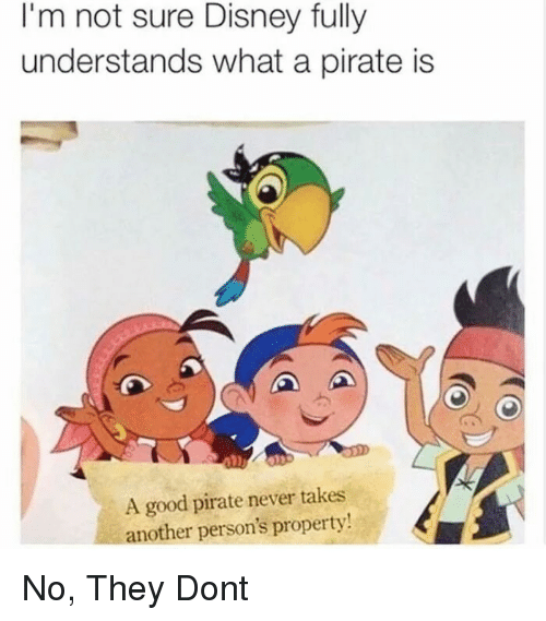 Disney, Good, and Pirate: I'm not sure Disney fully  understands what a pirate is  A good pirate never takes  another person's property No, They Dont