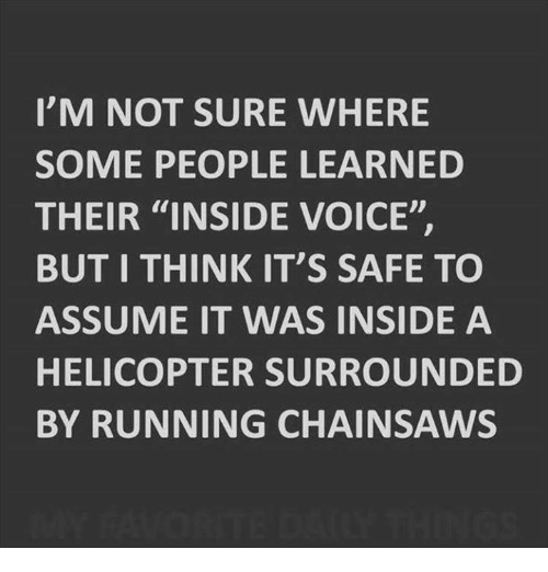 """Dank, Voice, and Running: I'M NOT SURE WHERE  SOME PEOPLE LEARNED  THEIR """"INSIDE VOICE""""  BUT I THINK IT'S SAFE TO  ASSUME IT WAS INSIDE A  HELICOPTER SURROUNDED  BY RUNNING CHAINSAWS"""