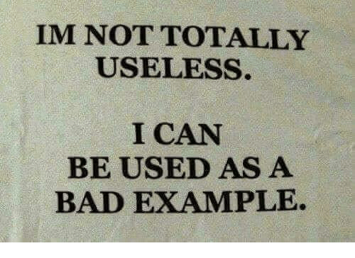 Bad, Can, and Example: IM NOT TOTALLY  USELESS.  I CAN  BE USED AS A  BAD EXAMPLE.