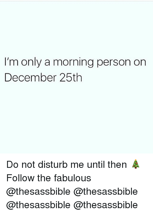 Memes, 🤖, and Fabulous: I'm only a morning person on  December 25th Do not disturb me until then 🎄 Follow the fabulous @thesassbible @thesassbible @thesassbible @thesassbible