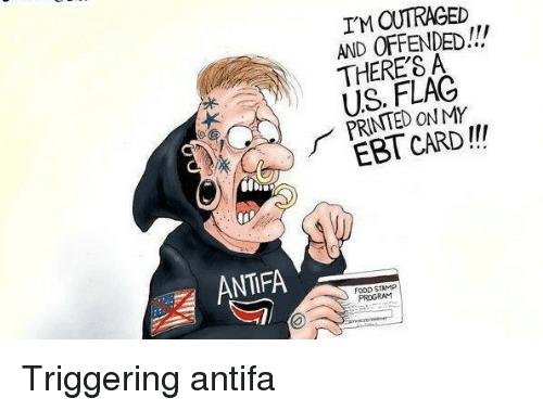Food, Politics, and Food Stamp: I'M OUTRAGED  AND OFFENDED!!!  THERE'S A  US. FLAC  PRINTED ON MY  EBT CARD!!  ANTIFA  FOOD STAMP  PROGRAM