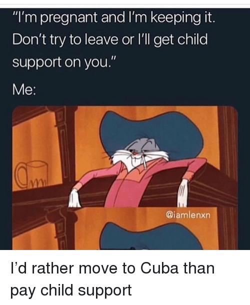 "Child Support, Funny, and Pregnant: ""I'm pregnant and I'm keeping it.  Don't try to leave or l'll get child  support on you.""  e:  @iamlenxn I'd rather move to Cuba than pay child support"