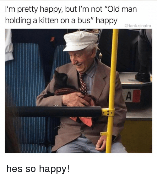 "Old Man, Happy, and Old: I'm pretty happy, but I'm not ""Old man  holding a kitten on a bus"" happy  @tank.sinatra hes so happy!"
