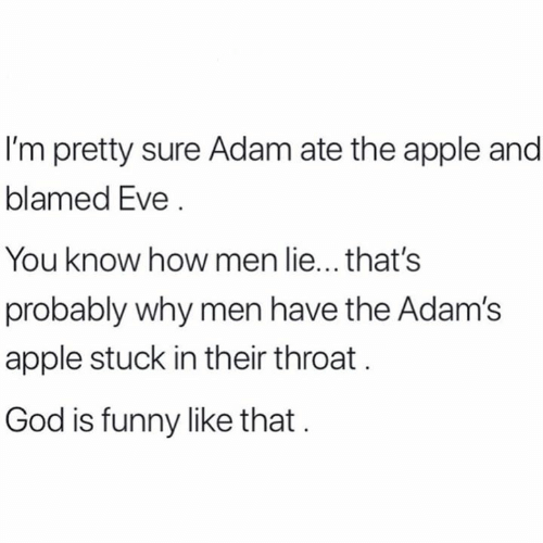 Apple, Funny, and God: I'm pretty sure Adam ate the apple and  blamed Eve  You know how men lie...that's  probably why men have the Adam's  apple stuck in their throat  God is funny like that