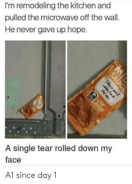 Live, Hope, and Never: I'm remodeling the kitchen and  pulled the microwave off the wall.  He never gave up hope.  A single tear rolled down my  face  MI  SAUCE  Iknen yor'd  COme back  for me  LIVE  MAS  TACO A1 since day 1