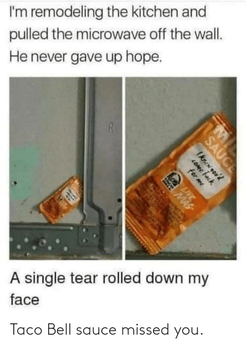 Taco Bell, Live, and Hope: I'm remodeling the kitchen and  pulled the microwave off the wall.  He never gave up hope.  A single tear rolled down my  face  SAUCE  Iknen you'd  COme fack  for me  LIVE  MAS Taco Bell sauce missed you.