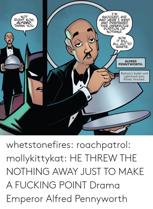 Fucking, Tumblr, and Thank You: I'M  SHOCKED, SIR.  AND HERE I WENT  AND PREPARED  THIS GENEROUs  PORTION OF  NOTHING.  NOT  RIGHT NOW,  ALFRED  THANK YOu.  NOW  IT WILL  ALL GO TO  WASTE.  ALFRED  PENNYWORTH  Batman's butler and  right-hand man.  Rarely shocked whetstonefires: roachpatrol:  mollykittykat:    HE THREW THE NOTHING AWAY JUST TO MAKE A FUCKING POINT  Drama Emperor Alfred Pennyworth