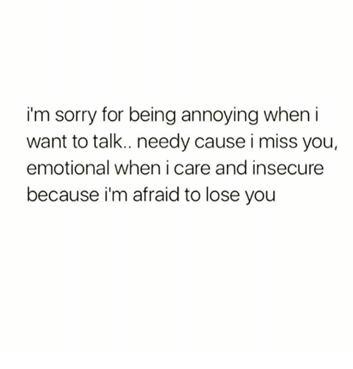 apology for being insecure