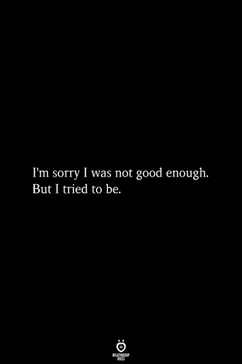 Sorry, Good, and Im Sorry: I'm sorry I was not good enough.  But I tried to be.  RELATIONSHIP  ES