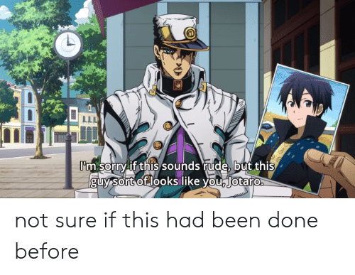 Rude, Sorry, and Been: I'm sorry if this sounds rude, but this  guy Sort of looks like you lotaro not sure if this had been done before