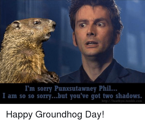 Memes, Sorry, and Tumblr: I'm sorry Punxsutawney Phil...  I am so so sorry...but you've got two shadows.  http://heathyre.tumblr.com Happy Groundhog Day!