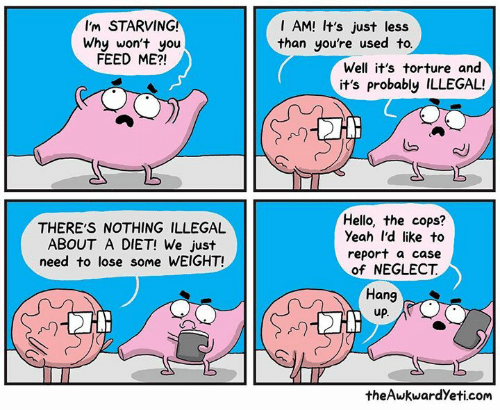 Hello, Memes, and Yeah: I'm STARVING!  I AM! It's just less  than you're used to  Why won't you  FEED ME?!  Well it's torture and  it's probably ILLEGAL!  N)  THERE'S NOTHING ILLEGAL  ABOUT A DIET! We just  need to lose some WEIGHT!  Hello, the cops?  Yeah I'd like to  report a case  of NEGLECT  Hang  up  A)  theAwkwardYeti.com