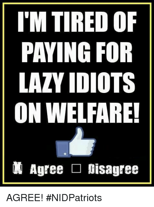 Lazy, Memes, and 🤖: I'M TIRED OF  PAYING FOR  LAZY IDIOTS  ON WELFARE!  Agree □ Disagree AGREE! #NIDPatriots