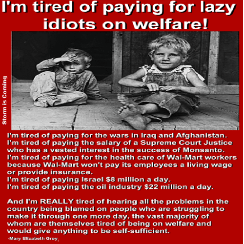 Lazy, Memes, and Supreme: I'm tired of paying for lazy  idiots on welfare!  I'm tired of paying for the wars in Iraq and Afghanistan.  I'm tired of paying the salary of a Supreme Court Justice  who has a vested interest in the success of Monsanto.  I'm tired of paying for the health care of Wal-Mart workers  because Wal-Mart won't pay its employees a living wage  or provide insurance  I'm tired of paying Israel $8 million a day.  I'm tired of paying the oil industry $22 million a day.  And I'm REALLY tired of hearing all the problems in the  country being blamed on people who are struggling to  make it through one more day, the vast majority of  whom are themselves tired of being on welfare and  would give anything to be self-sufficient.  -Mary Elizabeth Grey