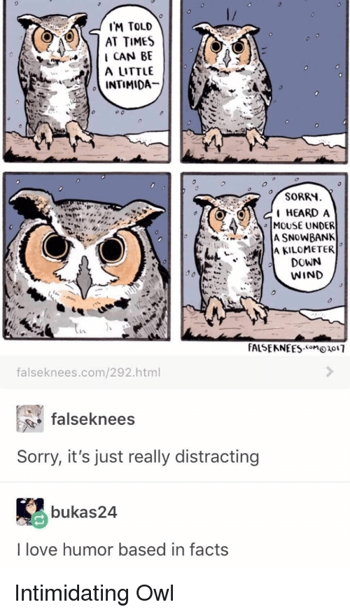 """Facts, Love, and Sorry: IM TOLD  AT TIMES  I CAN BE  A LITTLE  SORRY  HEARD A  MOUSE UNDER  """" IA KILOMETER  DOWN  WIND  falseknees.com/292.html  falseknees  Sorry, it's just really distracting  bukas24  I love humor based in facts Intimidating Owl"""