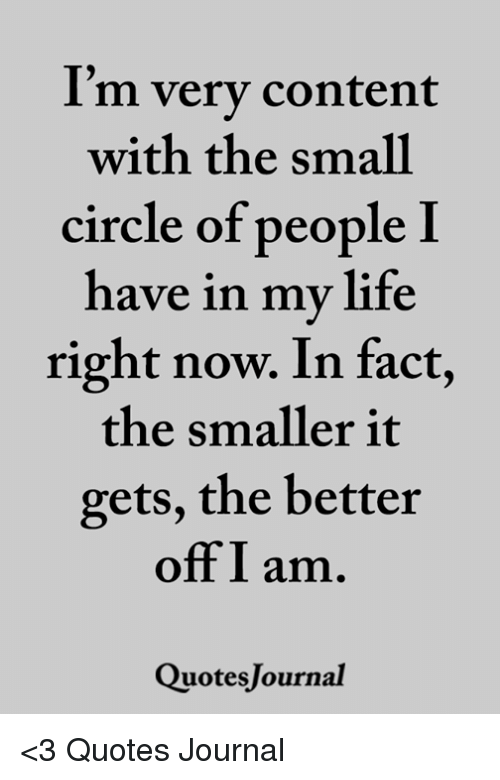 I M Very Content With The Small Circle Of People Have In My Life