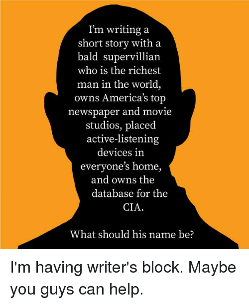 I'm Writing a Short Story With a Bald Supervillian Who Is