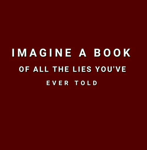Boo, All The, and Imagine: IMAGINE A BOO K  OF ALL THE LIES YOU'VE  EVER TOLD
