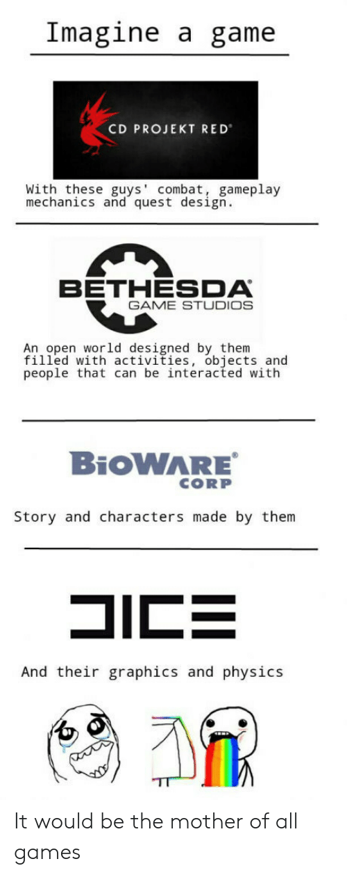 Game, Games, and Quest: Imagine a game  CD PROJEKT RED  With these guys' combat, gameplay  mechanics and quest design.  BETHESDA  GAME STUDIOS  An open world designed by, them  filled with activities, objects and  people that can be interacted with  BiOWARE  CORP  Story and characters made by them  And their graphics and physics It would be the mother of all games