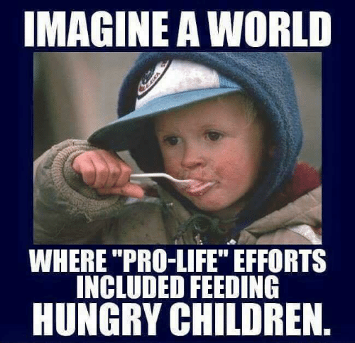 """Children, Hungry, and Life: IMAGINE A WORLD  WHERE """"PRO-LIFE"""" EFFORTS  INCLUDED FEEDING  HUNGRY CHILDREN"""