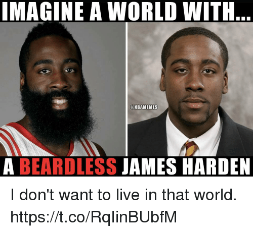 James Harden, Live, and World: IMAGINE A WORLD WITH  @NBAMEMES  A BEARDLESS JAMES HARDEN I don't want to live in that world. https://t.co/RqIinBUbfM