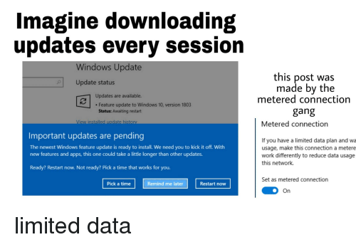 Imagine Downloading Updates Every Session Windows Update This Post