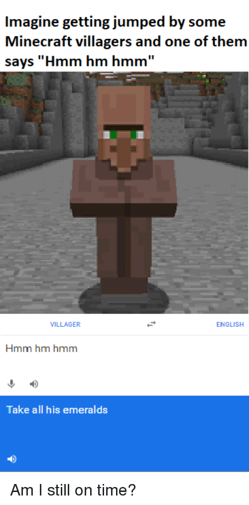 Imagine Getting Jumped by Some Minecraft Villagers and One of Them