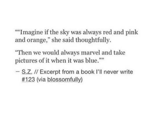 """Blue, Book, and Marvel: """"""""Imagine if the sky was always red and pink  and orange,"""" she said thoughtfully.  Then we would always marvel and take  pictures of it when it was blue.""""  939  S.Z. I/ Excerpt from a book I'll never write  #123 (via blossomfully)"""