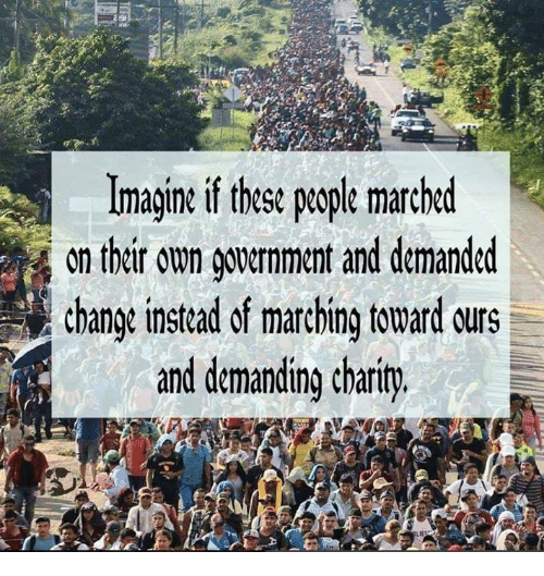 Memes, Change, and 🤖: Imagine if these people marched  on thir on gouernment and demanded  change instead of marching toward urs  and demanding charity