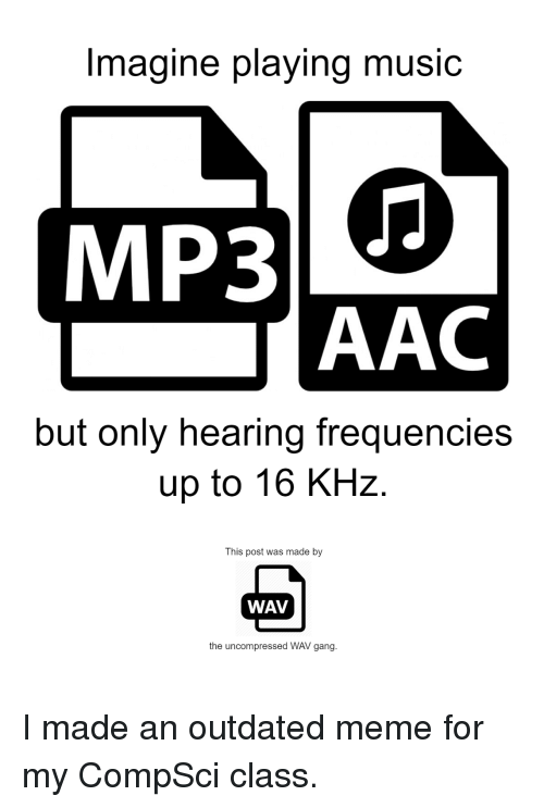Imagine Playing Mu MP3 AAC but Only Hearing Frequencies Up to 16 KHz