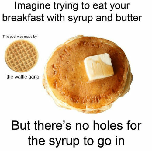 Holes, Gang, and Breakfast: Imagine trying to eat your  breakfast with syrup and butter  This post was made by  the waffle gang  But there's no holes for  the syrup to go in