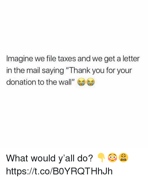 """Taxes, Thank You, and Mail: Imagine we file taxes and we get a letter  in the mail saying """"Thank you for your  donation to the wall"""" What would y'all do? 👇😳😩 https://t.co/B0YRQTHhJh"""