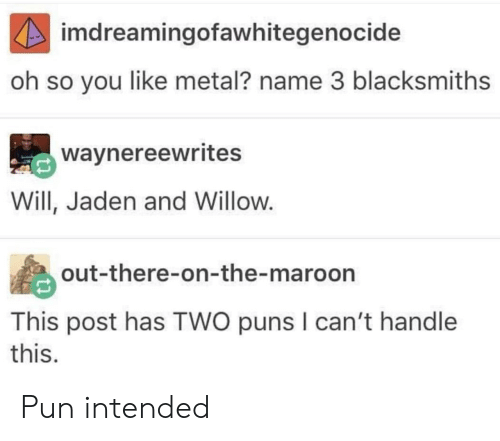 Puns, Jaden, and Metal: imdreamingofawhitegenocide  oh so you like metal? name 3 blacksmiths  waynereewrites  Will, Jaden and Willow.  out-there-on-the-maroon  This post has TWO puns I can't handle  this. Pun intended