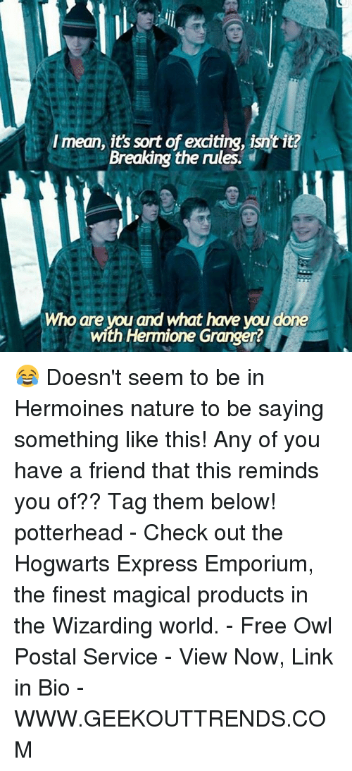 Hermione, Memes, and Express: Imean, its sort of exciting, isntit?  Breaking the rules.  Who are you and what have you done  with Hermione Granger? 😂 Doesn't seem to be in Hermoines nature to be saying something like this! Any of you have a friend that this reminds you of?? Tag them below! potterhead - Check out the Hogwarts Express Emporium, the finest magical products in the Wizarding world. - Free Owl Postal Service - View Now, Link in Bio - WWW.GEEKOUTTRENDS.COM