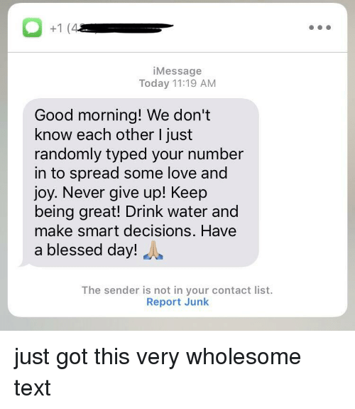 Blessed, Love, and Good Morning: iMessage  Today 11:19 AM  Good morning! We don't  know each other I just  randomly typed your number  in to spread some love and  joy. Never give up! Keep  being great! Drink water and  make smart decisions. Have  a blessed day!  The sender is not in your contact list.  Report Junk just got this very wholesome text