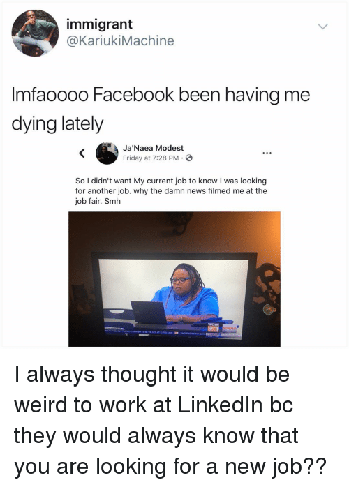Facebook, Friday, and LinkedIn: immigrant  @KariukiMachine  Imfaoooo Facebook been having me  dying lately  Ja'Naea Modest  Friday at 7:28 PM. E  S.  So I didn't want My current job to know I was looking  for another job. why the damn news filmed me at the  job fair. Smh I always thought it would be weird to work at LinkedIn bc they would always know that you are looking for a new job??